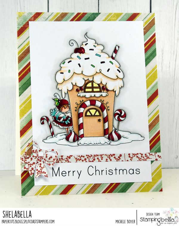 www.stampingbella.com: rubber stamp used: TEENY TINY TOWNIE GINGERBREAD HOUSE, card by MICHELE BOYER