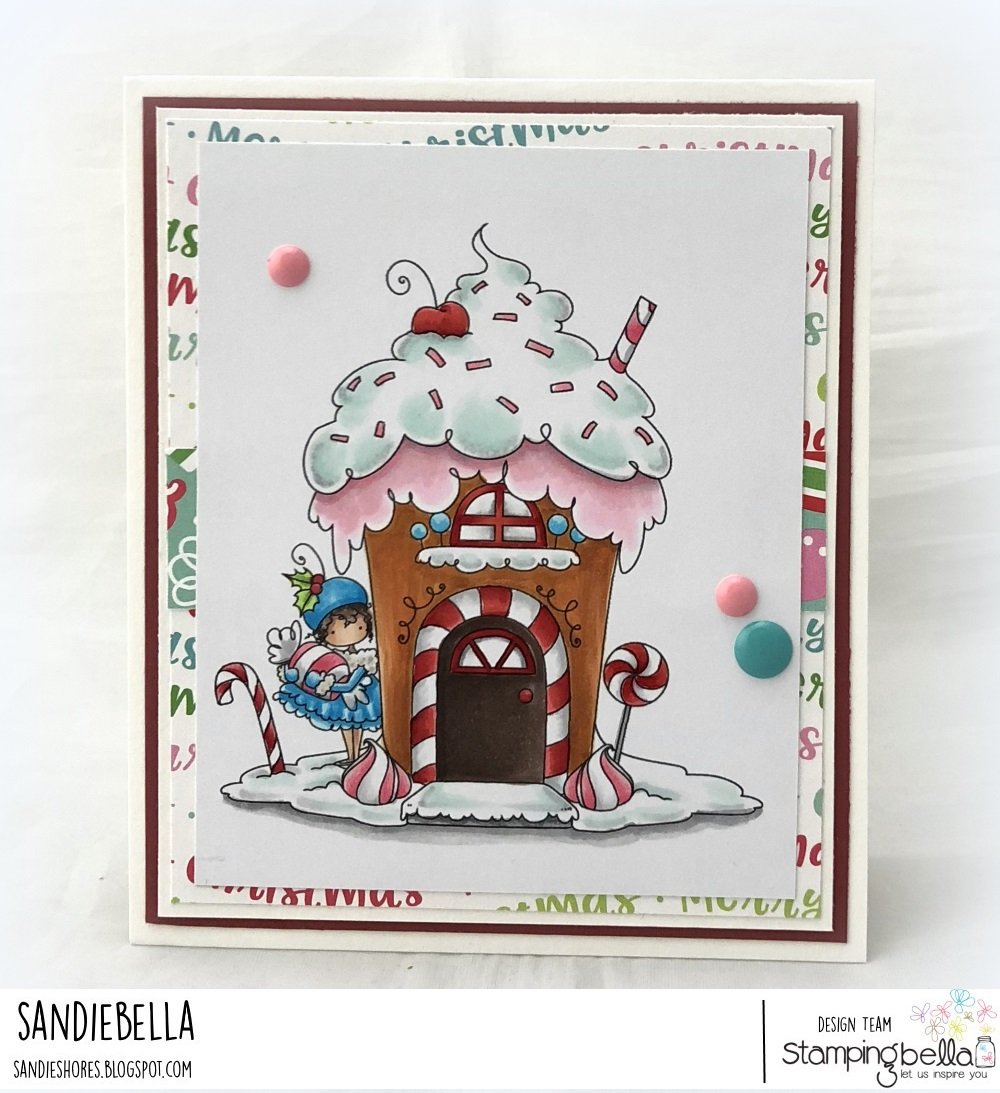 www.stampingbella.com: rubber stamp used: TEENY TINY TOWNIE GINGERBREAD HOUSE, card by Sandie Dunne