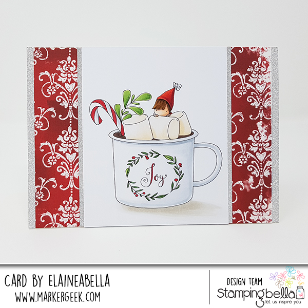 www.stampingbella.com: RUBBER STAMP USED: TEENY TINY TOWNIE WITH A HOT CHOCOLATE, CARD BY Elaine Hughes
