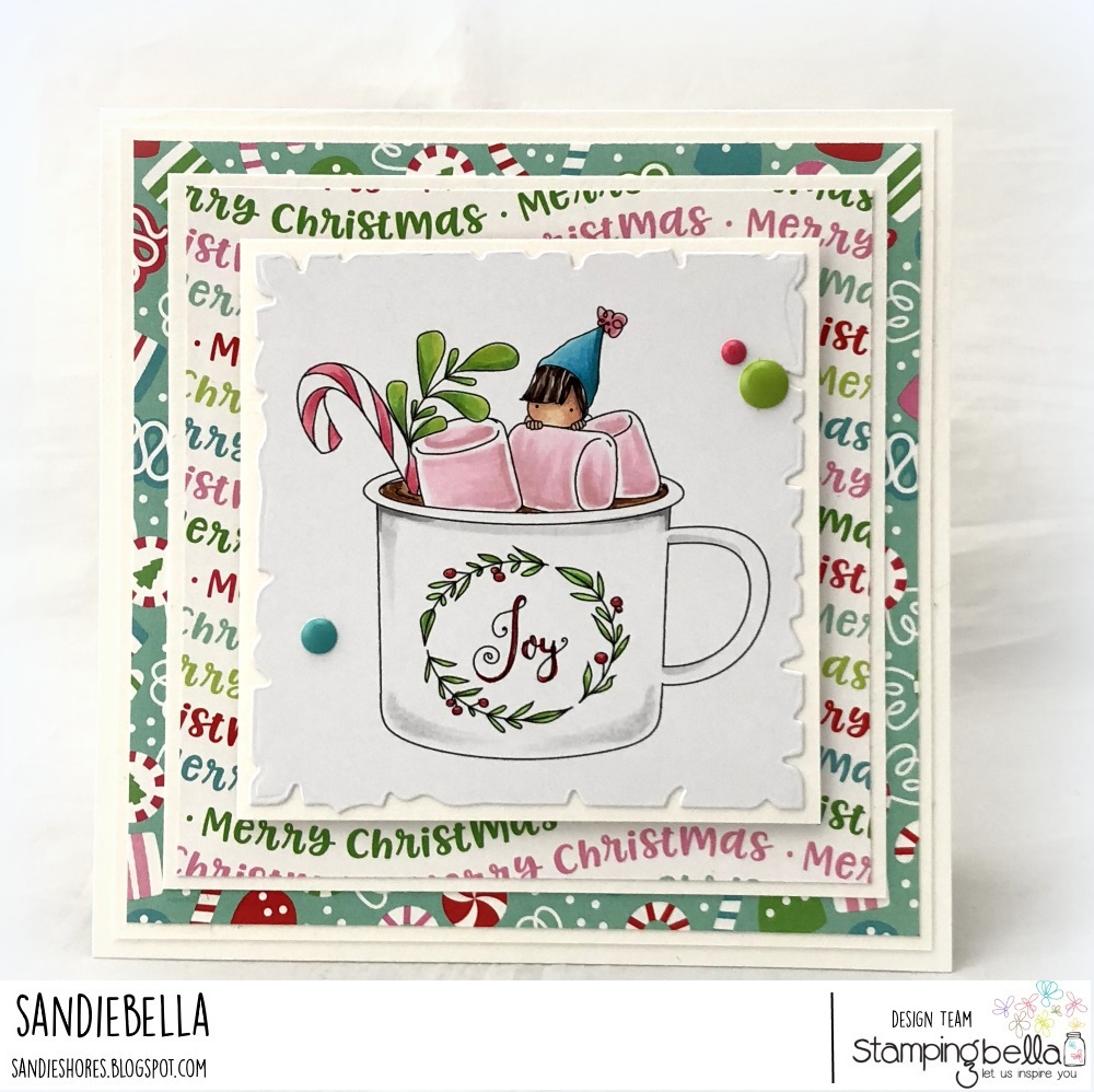 www.stampingbella.com: RUBBER STAMP USED: TEENY TINY TOWNIE WITH A HOT CHOCOLATE, CARD BY Sandie Dunne