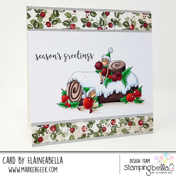 www.stampingbella.com: RUBBER STAMP USED: TEENY TINY TOWNIE on a YULE LOG, CARD BY Elaine Hughes