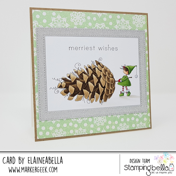 www.stampingbella.com: rubber stamp used TEENY TINY TOWNIE WITH A PINECONE, card by Elaine Hughes