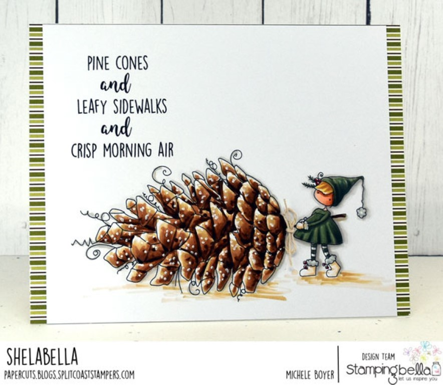 www.stampingbella.com: rubber stamp used TEENY TINY TOWNIE WITH A PINECONE, card by Michele Boyer
