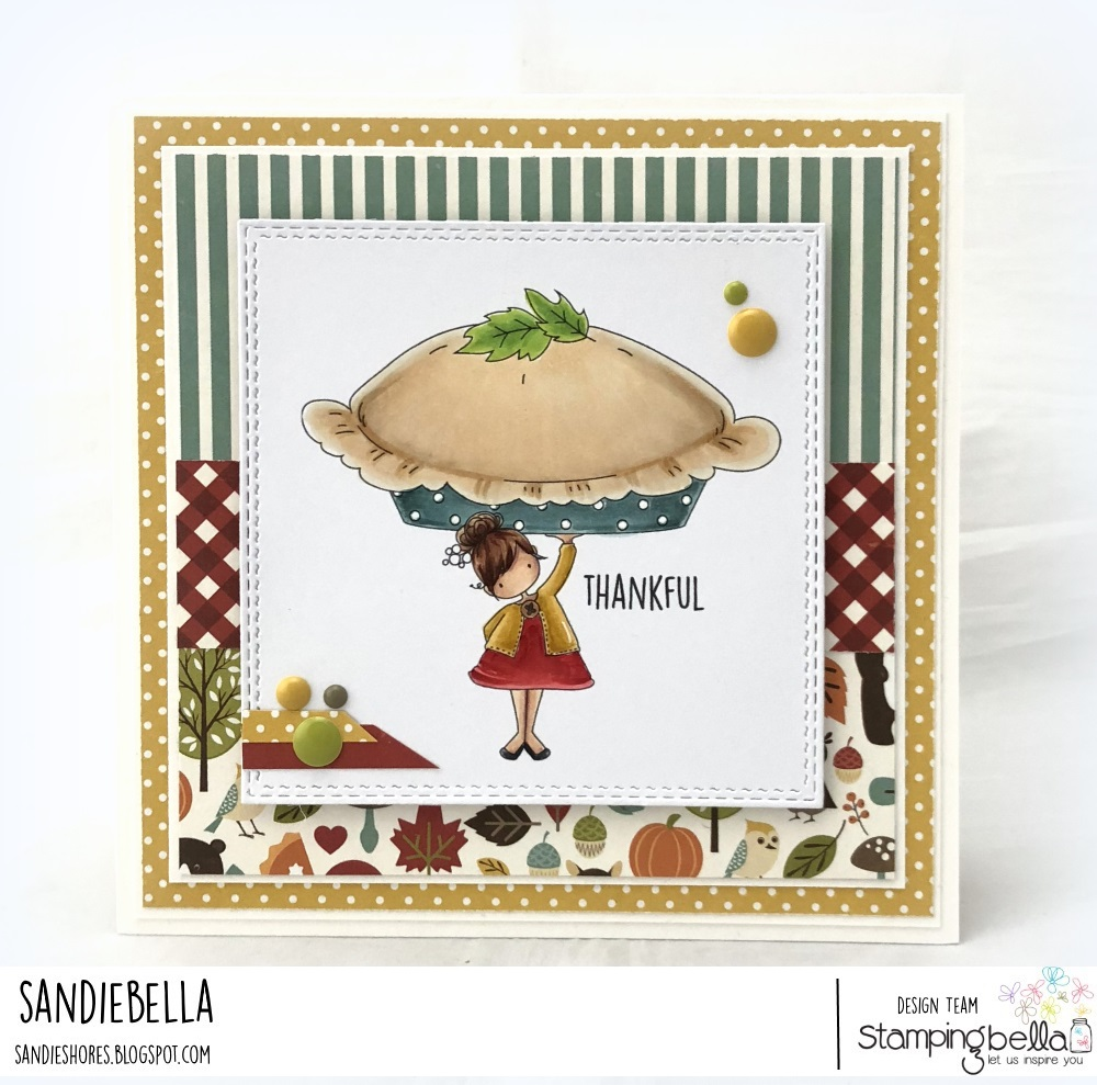www.stampingbella.com: RUBBER STAMP USED: TEENY TINY TOWNIE with a PUMPKIN PIE, CARD BY Sandie Dunne