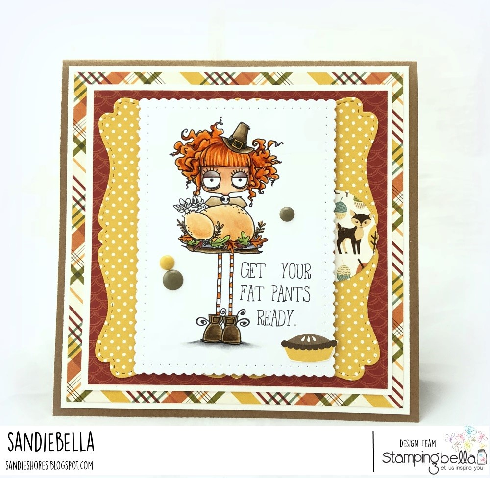 www.stampingbella.com: RUBBER STAMP: THANKSGIVING ODDBALL. CARD BY SANDIE DUNNE