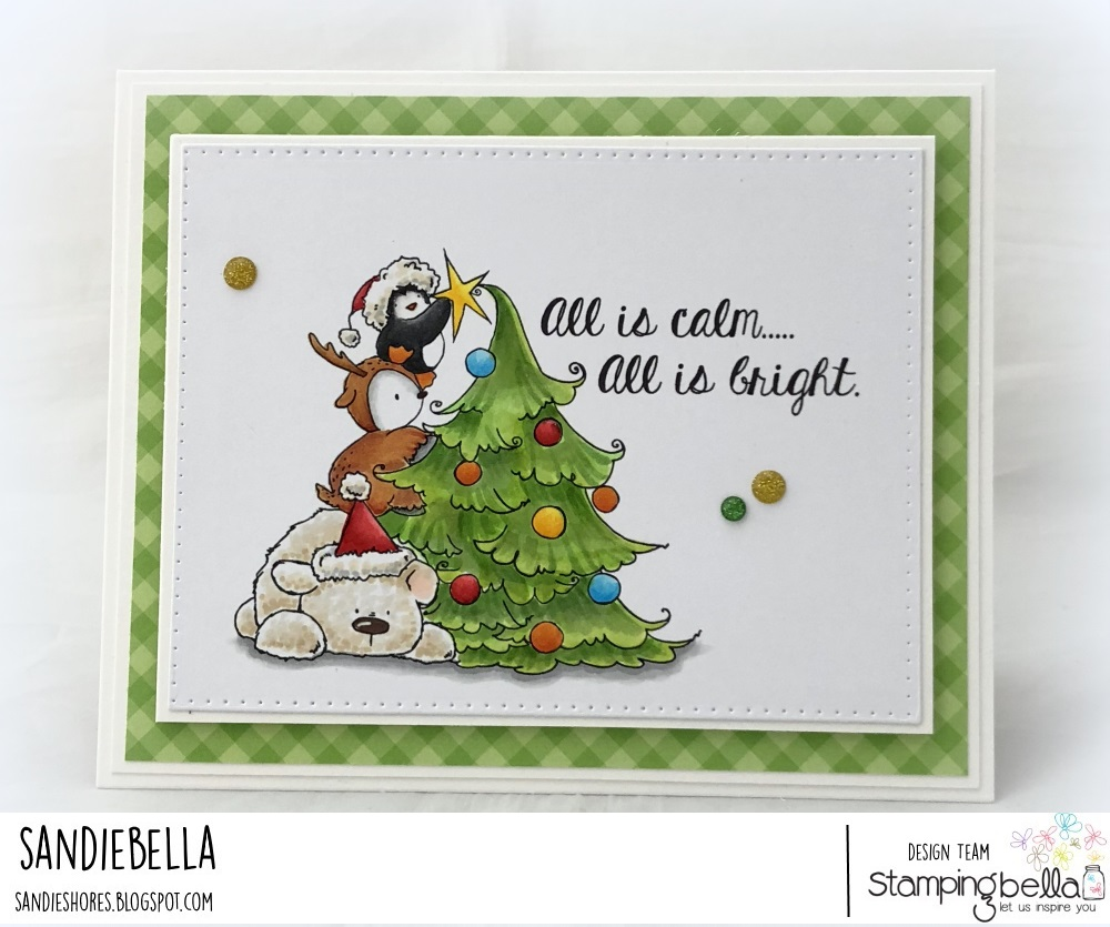 www.stampingbella.com: rubber stamp used: The penguin on a reindeer on a polar bear. Card by Sandie Dunne