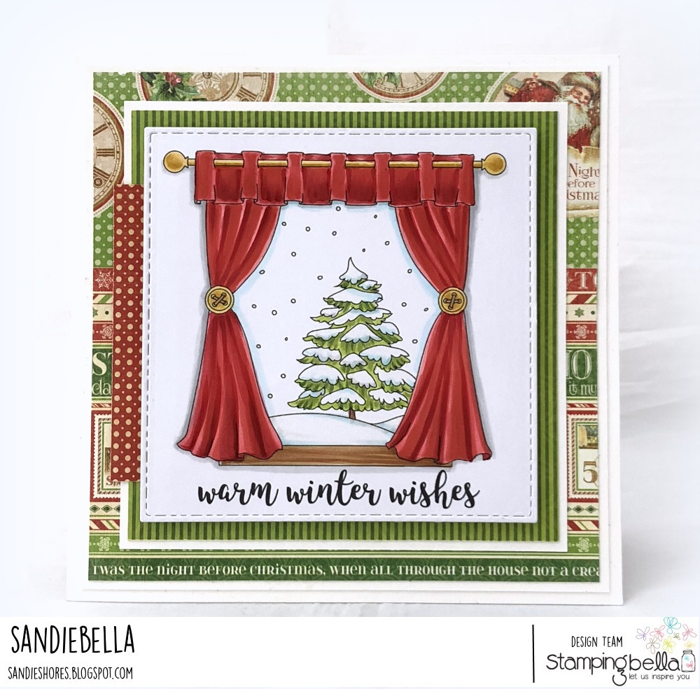 www.stampingbella.com: Rubber stamp used: WINTER WINDOW card by SANDIE DUNNE