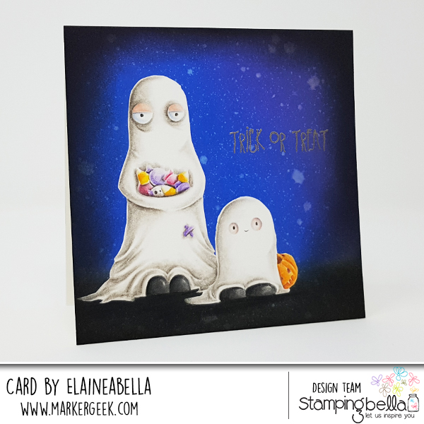 Stamping Bella Oddball & Squidgy Ghost Scene Card