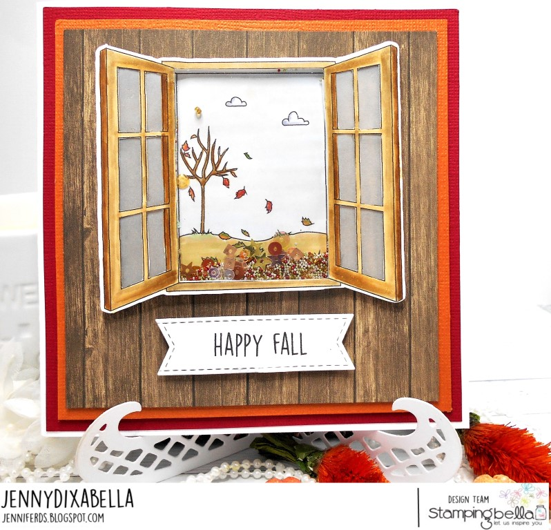 www.stampingbella.com: RUBBER STAMP: FALL WINDOW, card by Jenny Dix