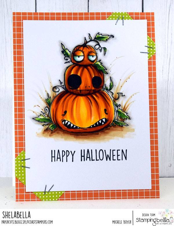 www.stampingbella.com:  rubber stamp used: ODDBALL PUMPKIN PILE CARD  by Michele Boyer