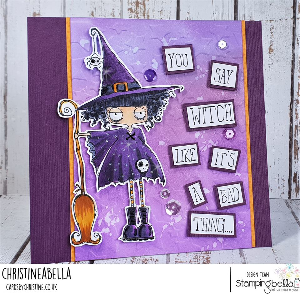 www.stampingbella.com:  rubber stamp used: ODDBALL WITCH card by CHRISTINE Levison