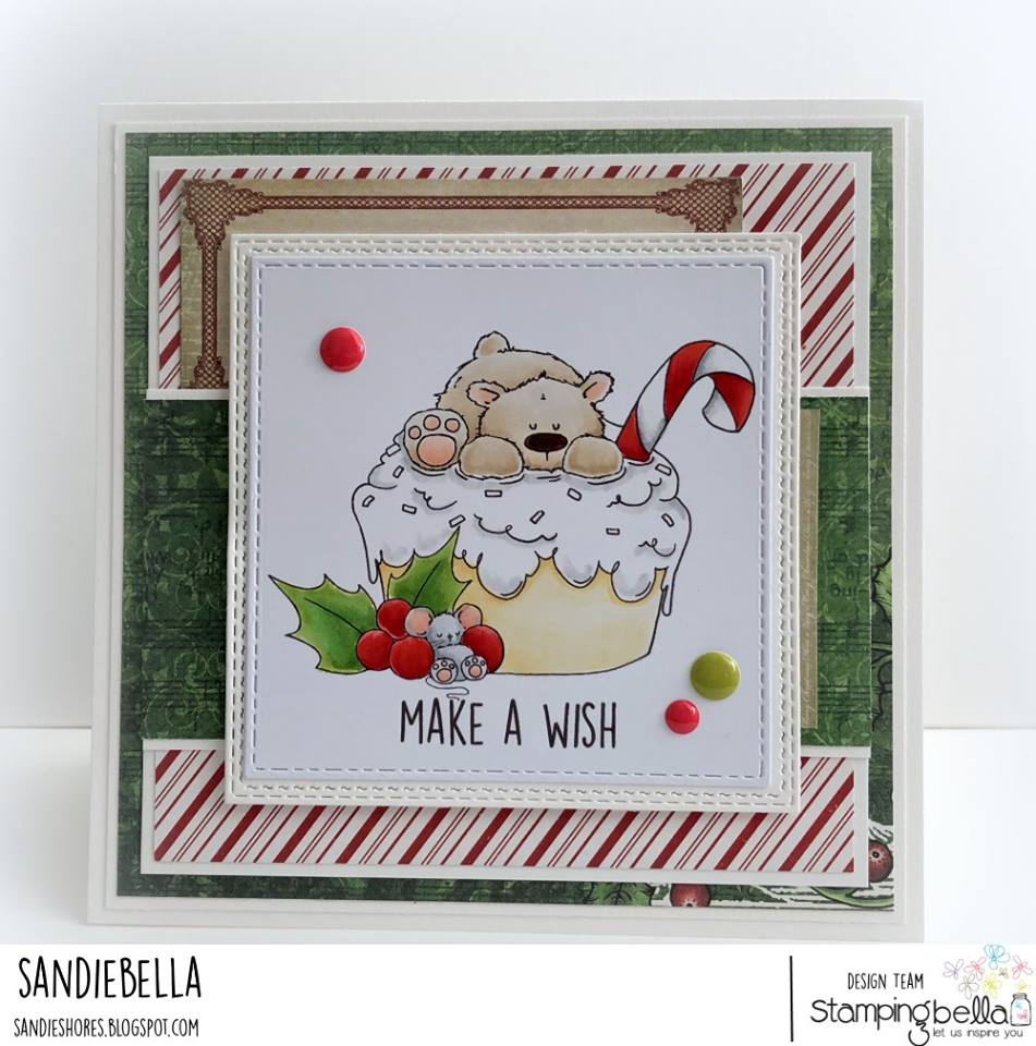 www.stampingbella.com:  rubber stamp used: POLAR BEAR on a CUPCAKE card by Sandie Dunne