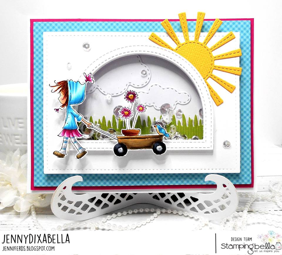 www.stampingbella.com: rubber stamp used: RAMONA and her WAGON.  Card by JENNY DIX