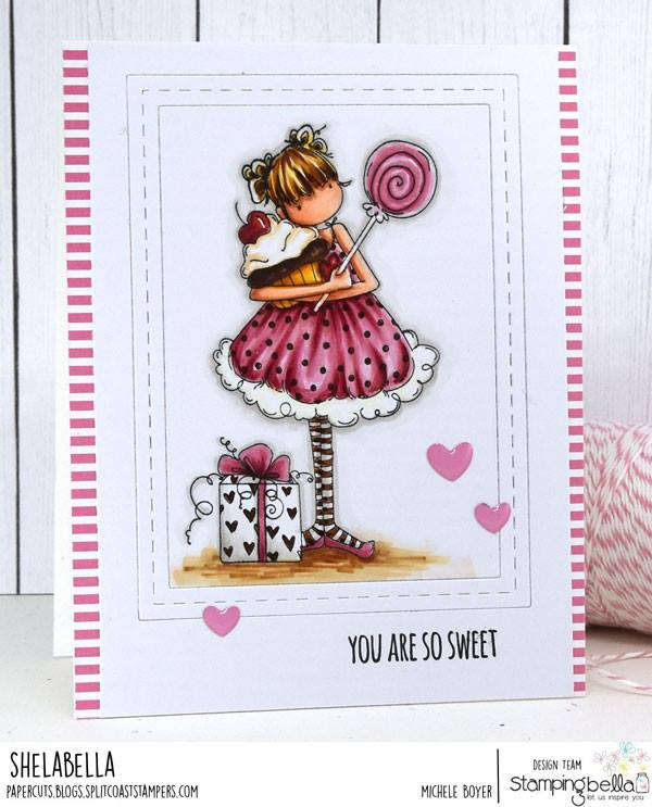 www.stampingbella.com: rubber stamp used: TINY TOWNIE SAMMY IS SWEET.  Card by Michele Boyer