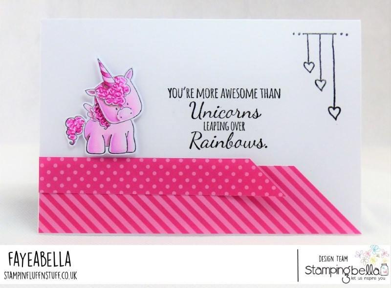 www.stampingbella.com:   UNICORN SENTIMENT SET.  Card by Faye Wynn Jones