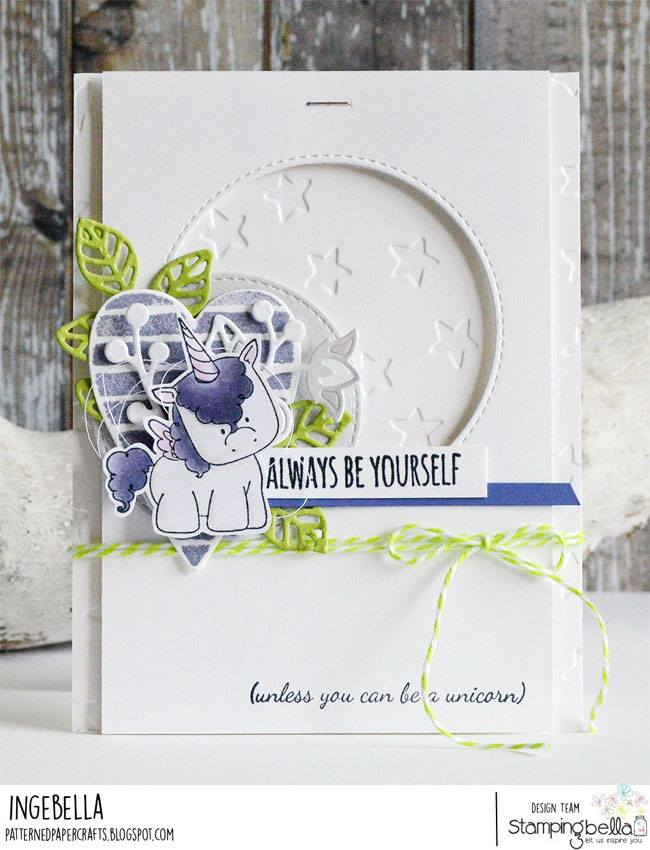 www.stampingbella.com:  UNICORN SENTIMENT SET.  Card by Inge Groot