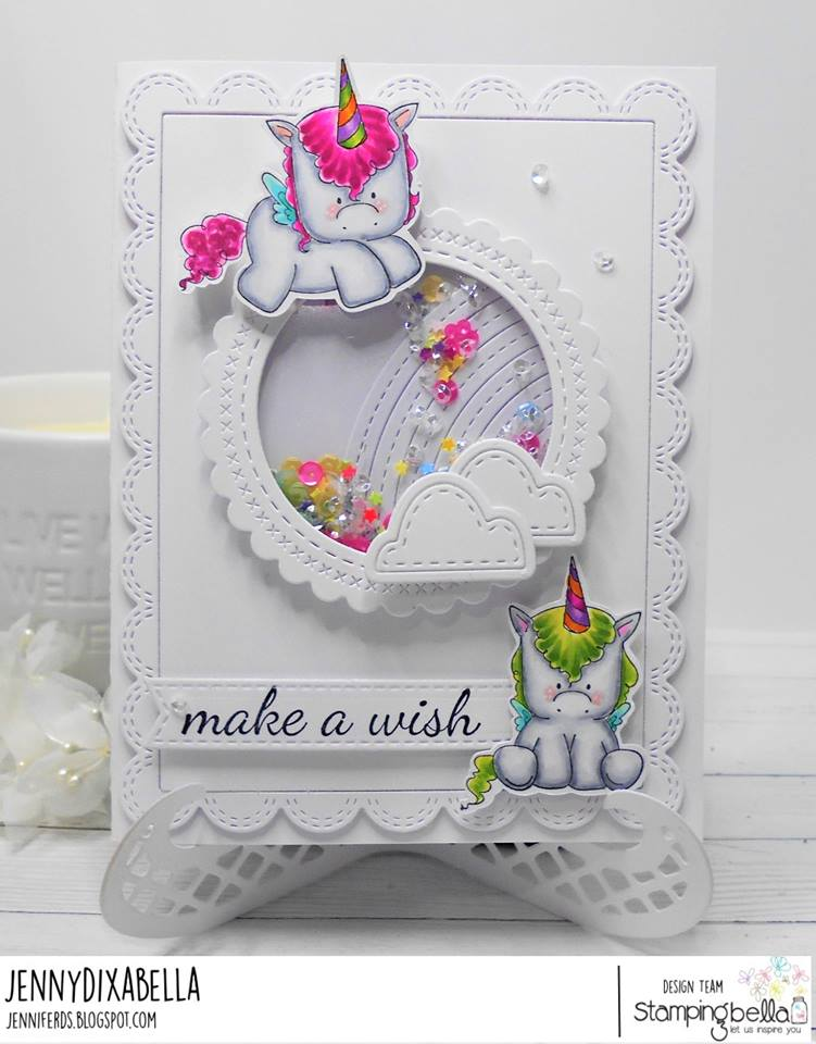 www.stampingbella.com: RUBBER STAMP USED L SET OF UNICORNS, UNICORN SENTIMENT SET.  Card by  Jenny Dix