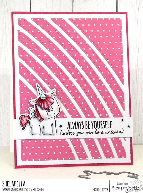 www.stampingbella.com: RUBBER STAMP USED   UNICORN SENTIMENT SET.  Card by Michele Boyer