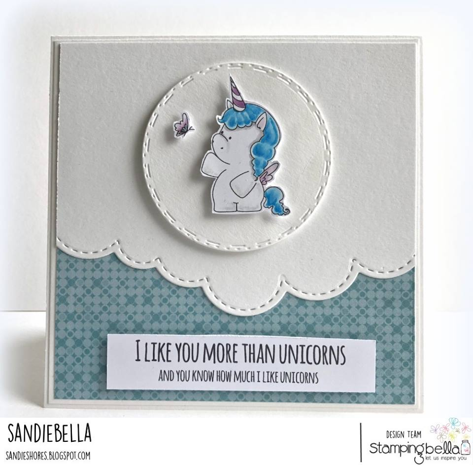 www.stampingbella.com: RUBBER STAMP USED L SET OF UNICORNS, UNICORN SENTIMENT SET.  Card by Sandie Dunne