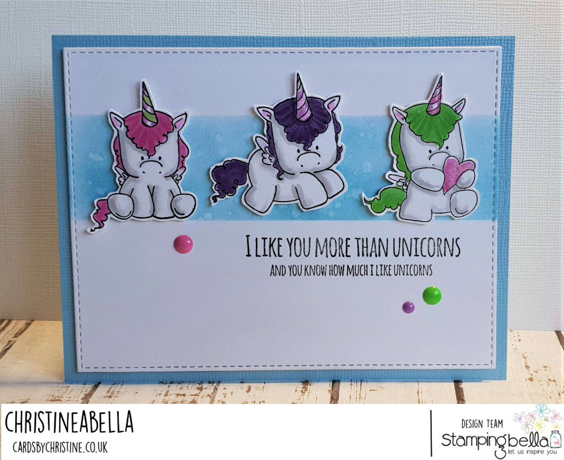www.stampingbella.com: RUBBER STAMP USED L SET OF UNICORNS, UNICORN SENTIMENT SET.  Card by Christine Levison