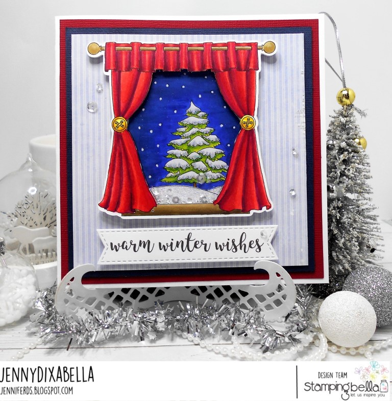 www.stampingbella.com: RUBBER STAMP: WINTER WINDOW, card by Jenny Dix
