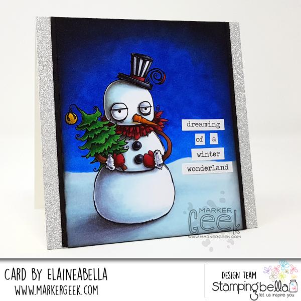 Stamping Bella Marker Geek Monday Oddball Snowman Card & Colouring White