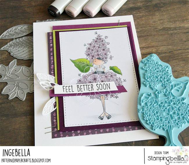 www.stampingbella.com: rubber stamp used TINY TOWNIE GARDEN GIRL LILAC . Card by Inge Groot