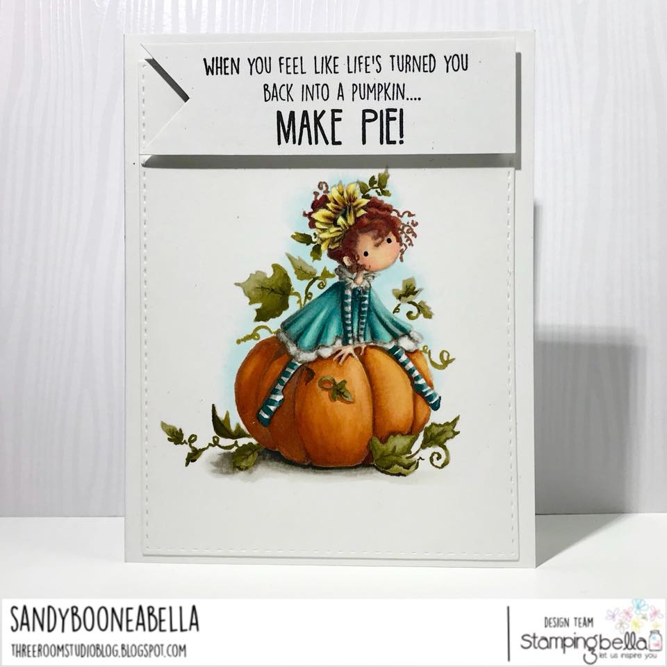 www.stampingbella.com: rubber stamp used TINY TOWNIE PATRICIA loves PUMPKINS . Card by Sandy Boone
