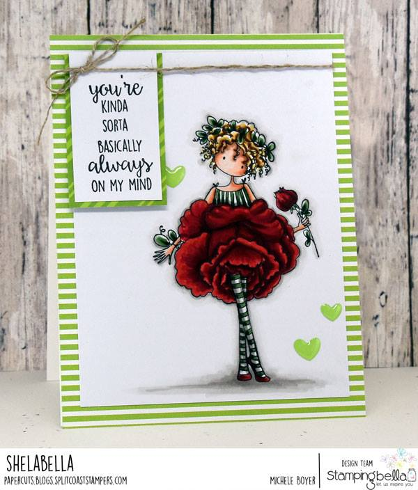 www.stampingbella.com: rubber stamp used TINY TOWNIE GARDEN GIRL ROSE . Card by Michele Boyer