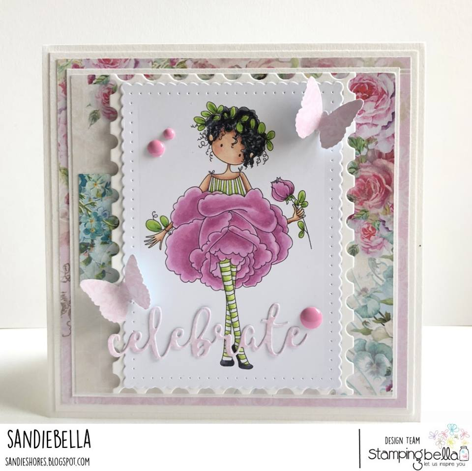 www.stampingbella.com: rubber stamp used TINY TOWNIE GARDEN GIRL ROSE . Card by Sandie Dunne