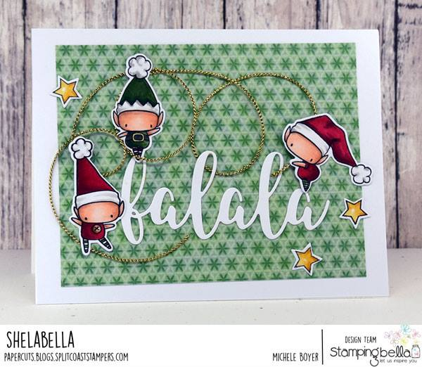 www.stampingbella.com: rubber stamp used:LITTLE BITS SET OF ELVES and FALALA CUT IT OUT DIE card by MICHELE BOYER