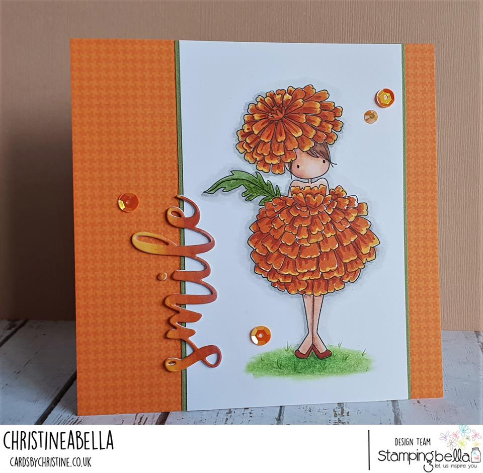 www.stampingbella.com: rubber stamps used TINY TOWNIE GARDEN GIRL MARIGOLD and SMILE CUT IT OUT SENTIMENT. Card by Christine Levison