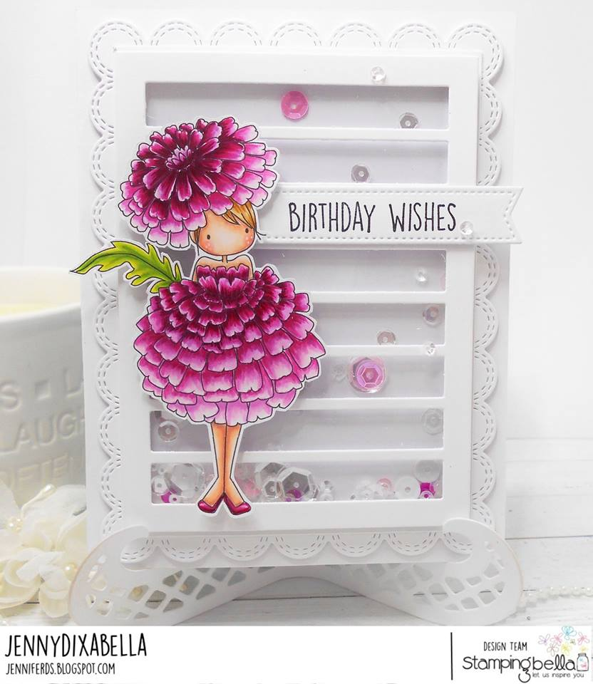 www.stampingbella.com: rubber stamps used TINY TOWNIE GARDEN GIRL MARIGOLD  . Card by Jenny Dix