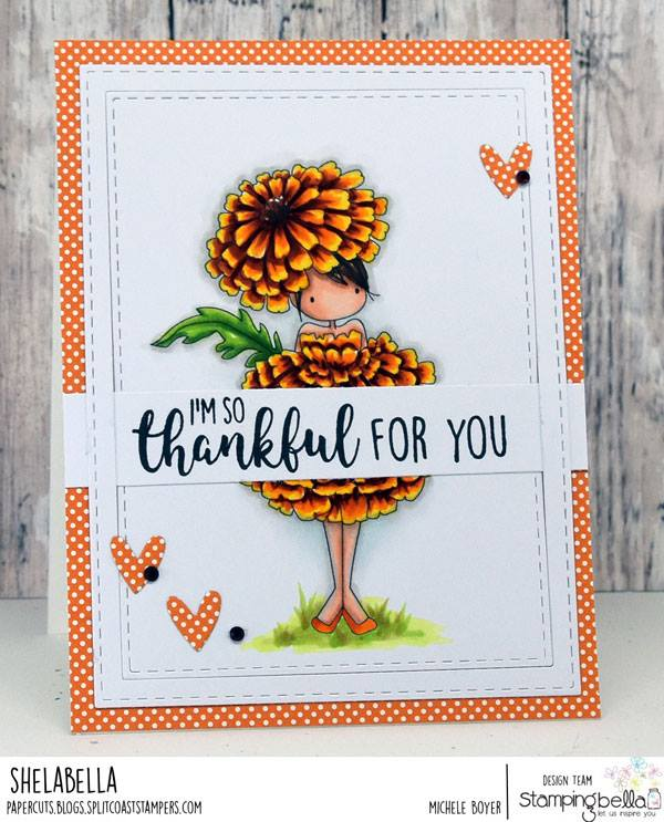 www.stampingbella.com: rubber stamps used TINY TOWNIE GARDEN GIRL MARIGOLD  . Card by Michele Boyer