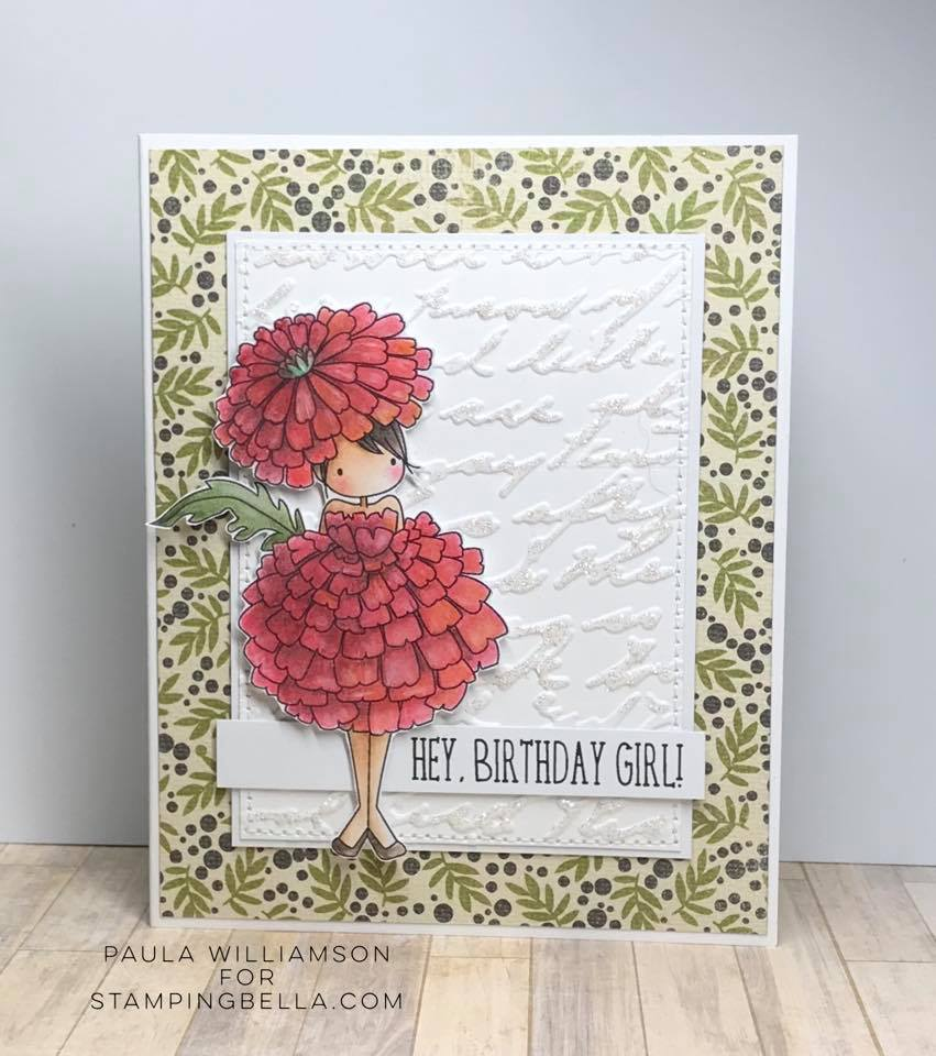 www.stampingbella.com: rubber stamps used TINY TOWNIE GARDEN GIRL MARIGOLD  . Card by Paula Williamson