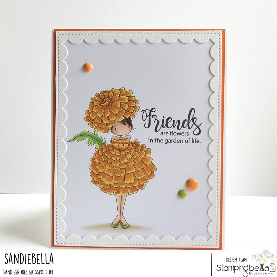www.stampingbella.com: rubber stamps used TINY TOWNIE GARDEN GIRL MARIGOLD  . Card by Sandie Dunne