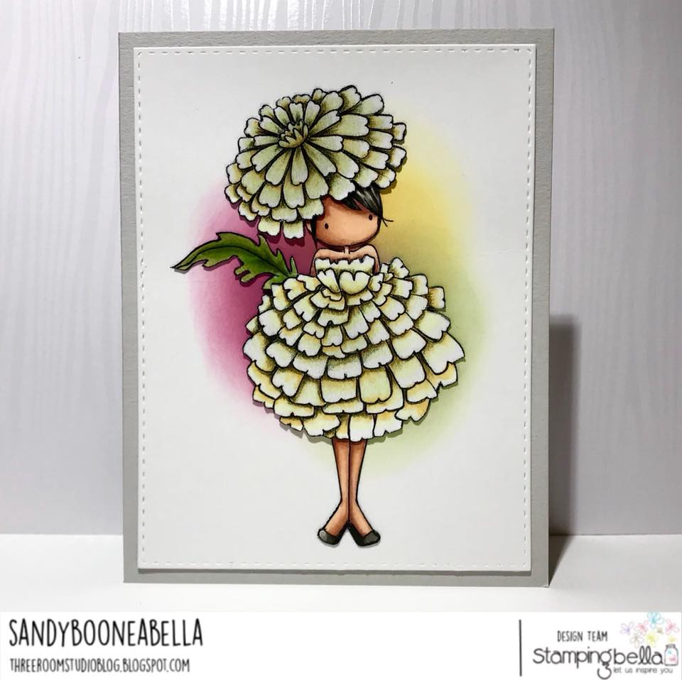 www.stampingbella.com: rubber stamps used TINY TOWNIE GARDEN GIRL MARIGOLD  . Card by Sandy Boone