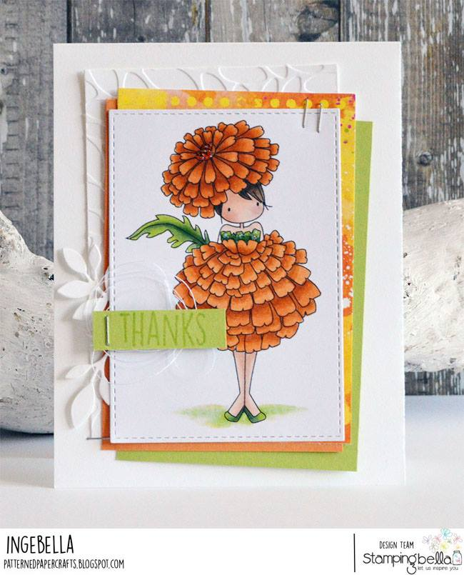 www.stampingbella.com: rubber stamps used TINY TOWNIE GARDEN GIRL MARIGOLD  . Card by Inge Groot
