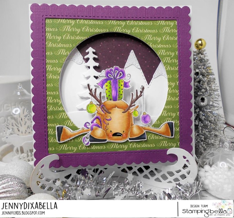 www.stampingbella.com: rubber stamp used: RUDOLPH with  a present on top card by Jenny Dix