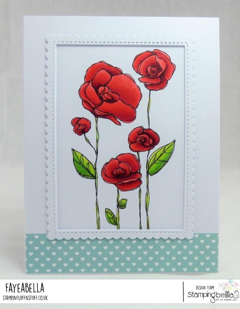 www.stampingbella.com: rubber stamp used FLOWER GARDEN .  Card made by FAYE WYNN JONES