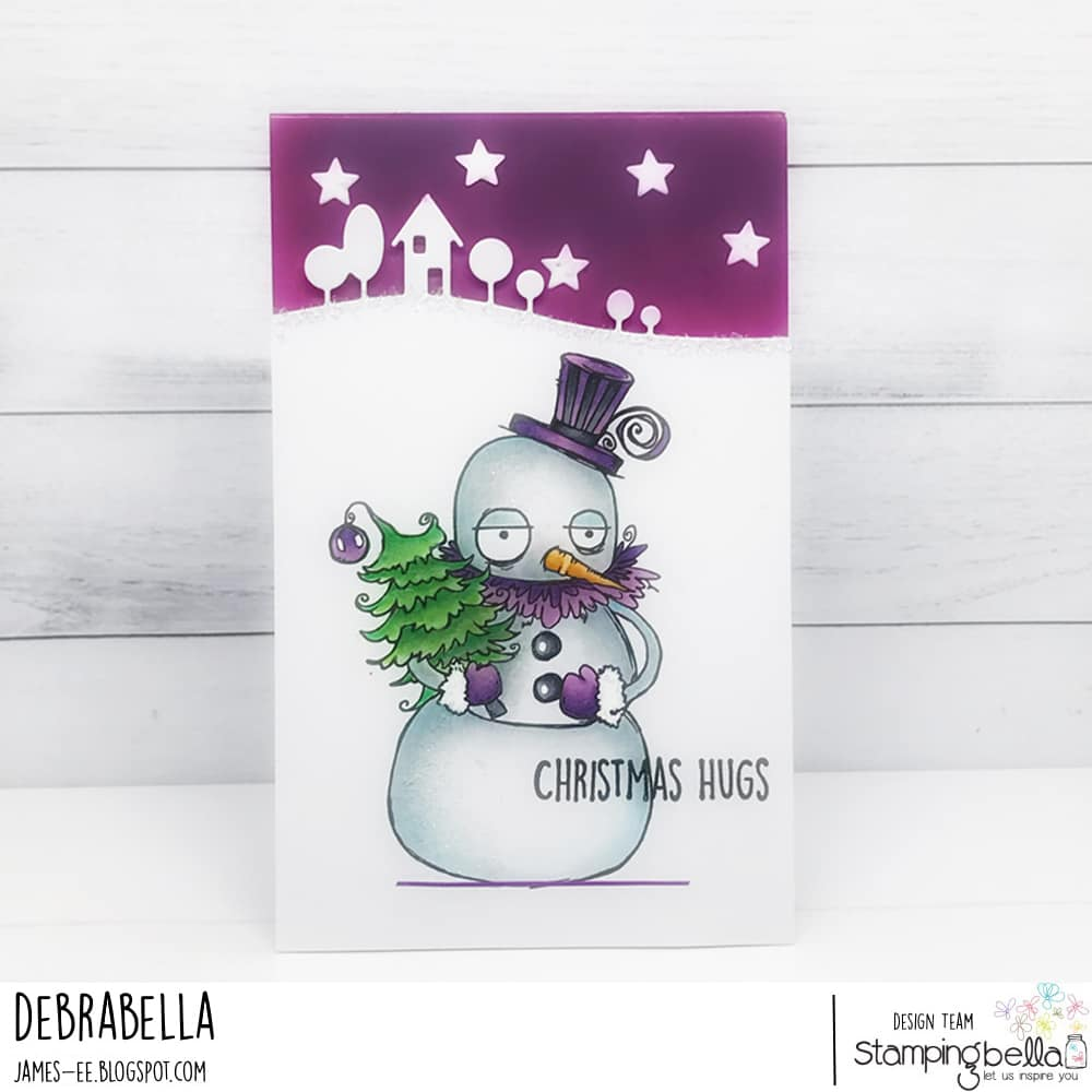 www.stampingbella.com.  RUBBER STAMP USED:  ODDBALL SNOWMAN.  Card by Debra James