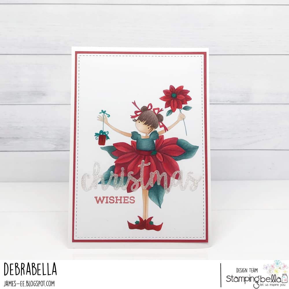 www.stampingbella.com: rubber stamp used:  TINY TOWNIE PAMELA and the POINSETTIA card by DEBRA JAMES