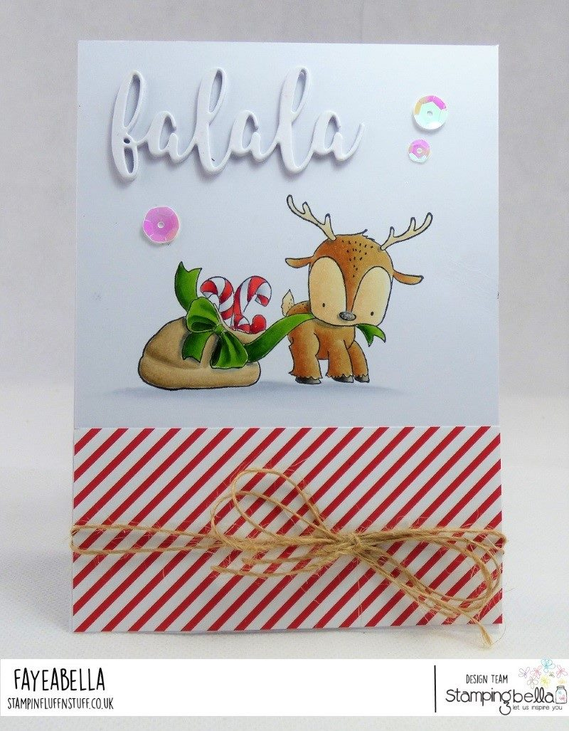 www.stampingbella.com.  RUBBER STAMP USED:  Reindeer with gift  Card by FAYE WYNN JONES