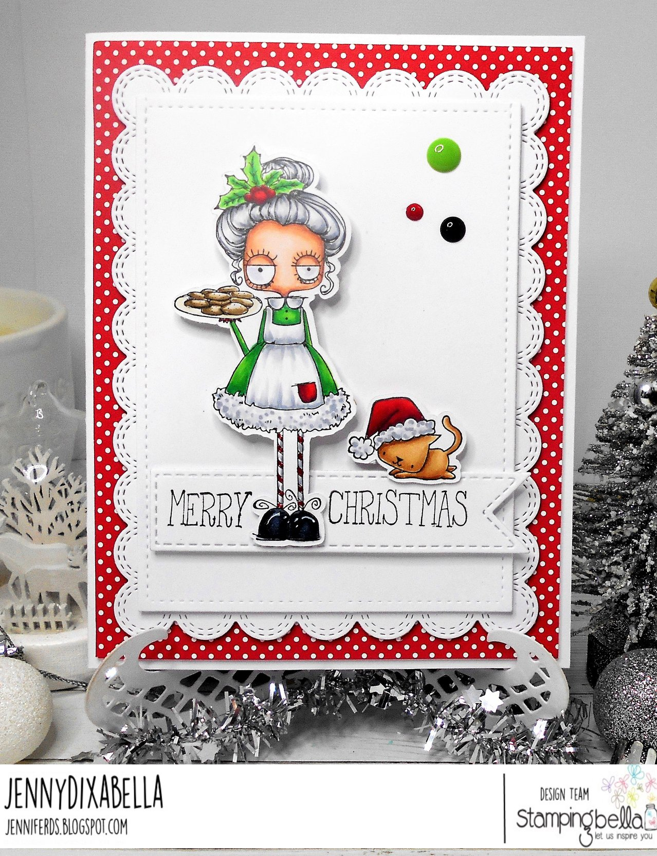 www.stampingbella.com.  RUBBER STAMP USED:  ODDBALL SANTA AND THE MISSUS  Card by JENNY DIX