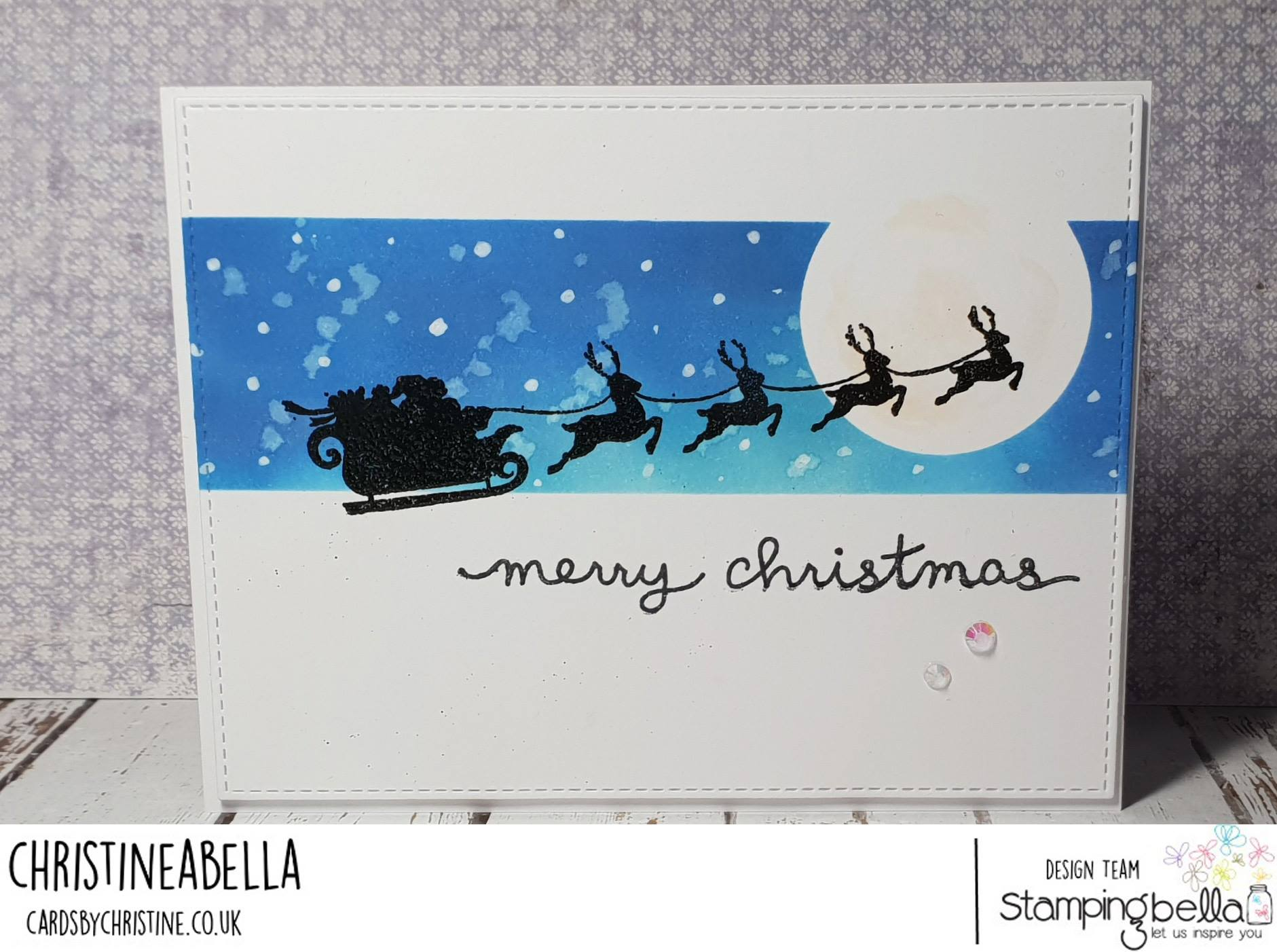 www.stampingbella.com.  RUBBER STAMP USED:  SANTA'S SLEIGH SILHOUETTE.  Card by Christine Levison