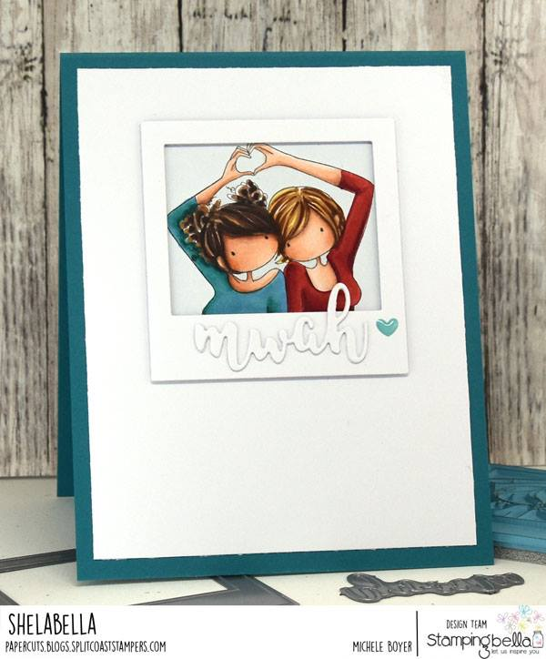www.stampingbella.com.  Rubber stamp used UPTOWN GIRLS SNAPSHOTS I HEART YOU card by MIchele BOYER