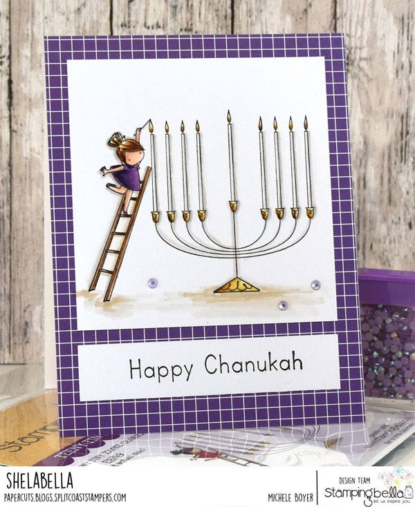 www.stampingbella.com.  RUBBER STAMP USED:  TEENY TINY TOWNIE CHANUKAH  Card by Michele Boyer