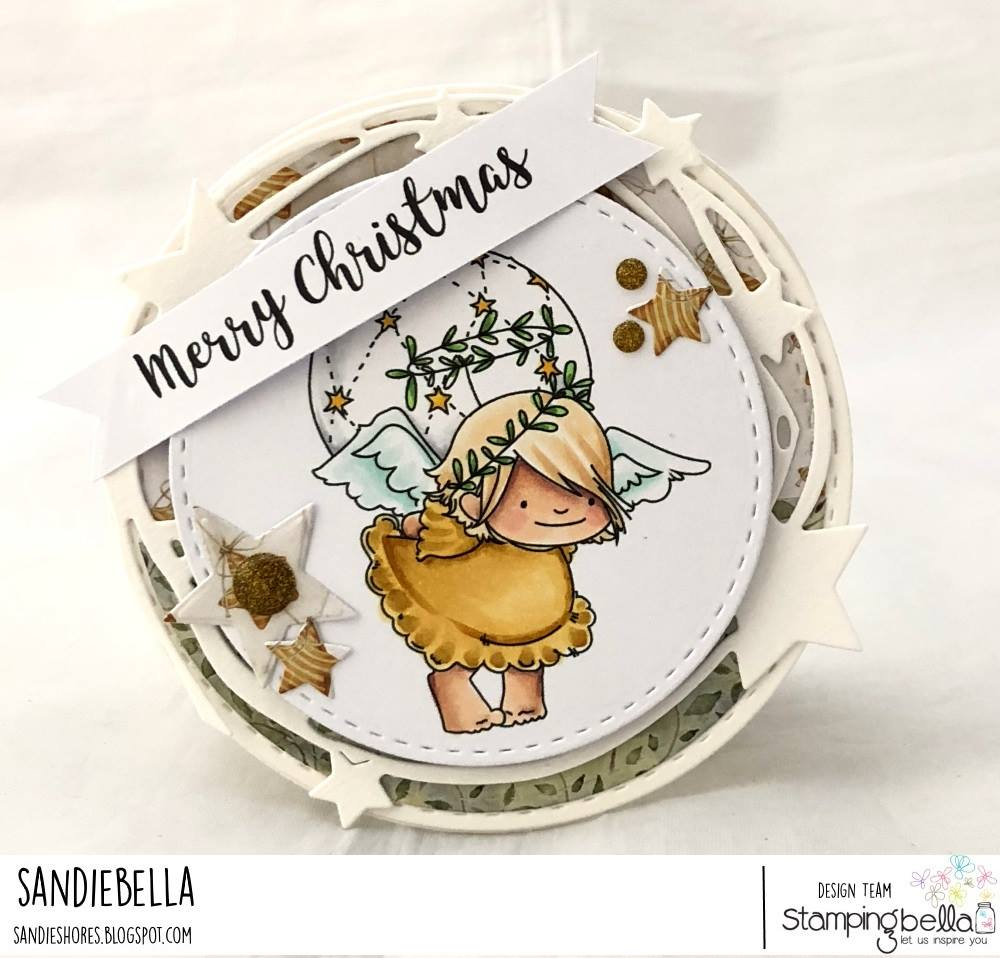 www.stampingbella.com:  rubber stamp used: angel squidgies bell and ornament set .  Card by Sandie Dunne