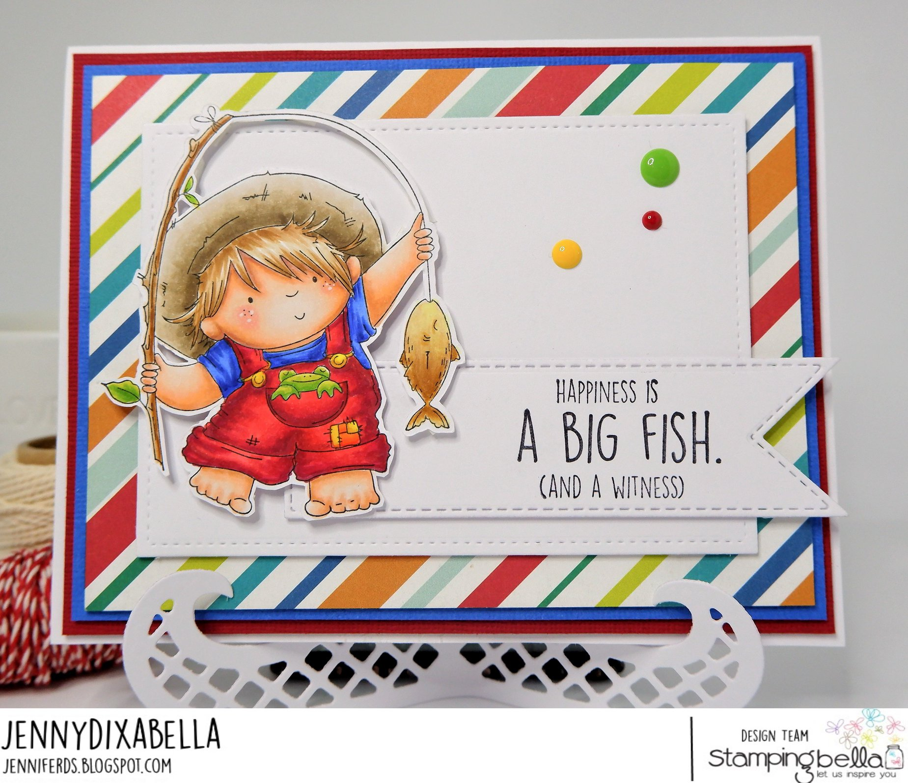 www.stampingbella.com.  RUBBER STAMP USED: FISHING SQUIDGY.  CARD BY Jenny Dix