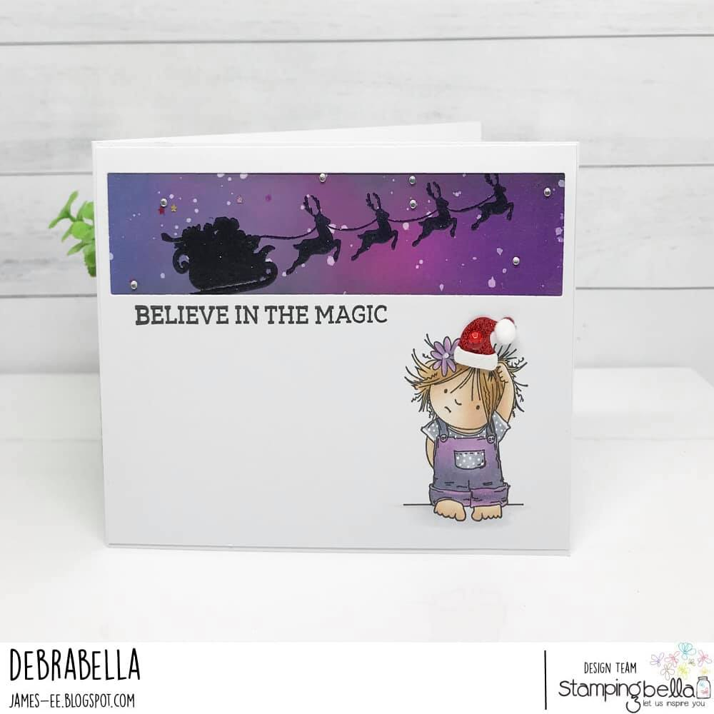 www.stampingbella.com.  RUBBER STAMP USED: SQUIDGY PALS, SANTA'S SLEIGH SILHOUETTE.  card by Debra James